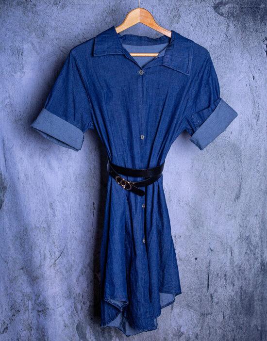 abito corto in denim con cintura