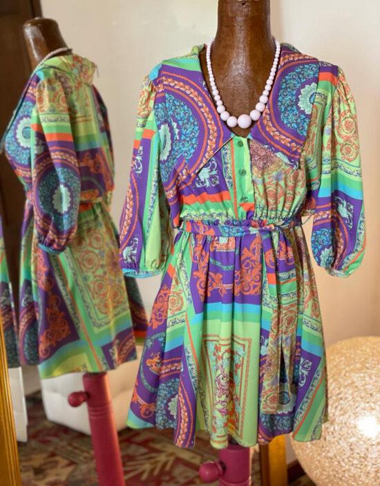 abito corto chemise multicolor maxi collo